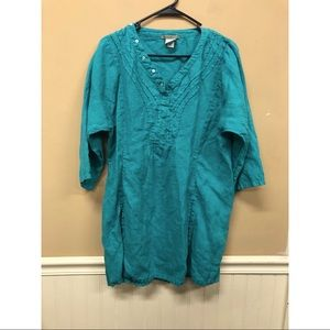 Isabella Bird Teal 100% Linen Tunic Top Size Large